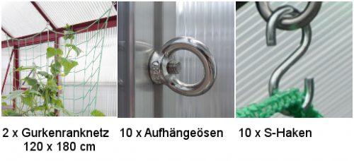 2er Set Gurkenranknetz 500x228 - 2er Set Gurkenranknetz 120 x 180 cm, Rankhilfe für Gurken inkl. Befestigung WAMA Gewächshaus