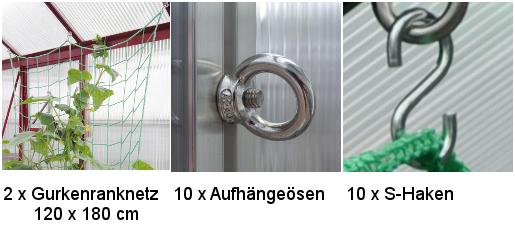 2er Set Gurkenranknetz - 2er Set Gurkenranknetz 120 x 180 cm, Rankhilfe für Gurken inkl. Befestigung WAMA Gewächshaus