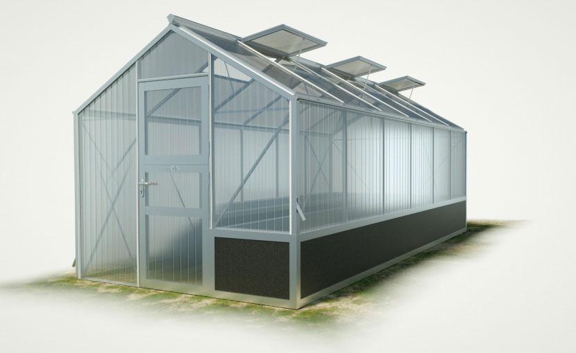 wama hochbeet einseitig gewaechshaus tropic 16 - WAMA Hochbeet-Gewächshaus Tropic 16 mit einseitigem Hochbeet - 15.56m²