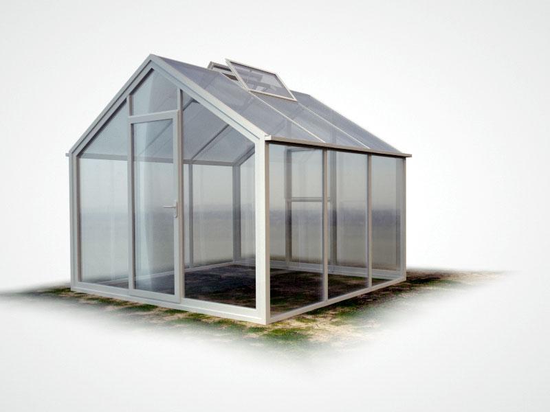 WAMA Gewächshaus Flora 23 – 9.51m², 2 Fenster <br>(B: 302cm X L: 315cm)