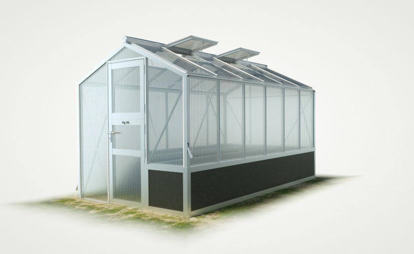 wama hochbeet einseitig gewaechshaus mini 60 - WAMA Hochbeet-Gewächshaus Mini 60 mit einseitigem Hochbeet – 7.92m² <br>(B: 208cm X L: 381cm)