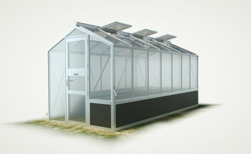 wama hochbeet einseitig gewaechshaus mini 70 - WAMA Hochbeet-Gewächshaus Mini 70 mit einseitigem Hochbeet – 9.21m² <br>(B: 208cm X L: 443cm)