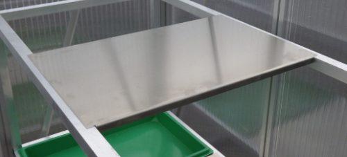 Alu Ablage für Tisch 63cm tief 500x227 - Alu-Ablage 40x60 cm für Pflanztisch 63 cm tief