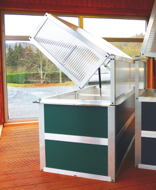 Frühbeet 80x200 mit Sandwichplatten grün SE - Frühbeet 80-200 mit Schneckensperre komplett montiert (Nur Abholung!)